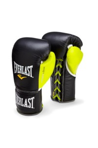 Everlast Powerlock Pro Fight Black Green Boxing Gloves