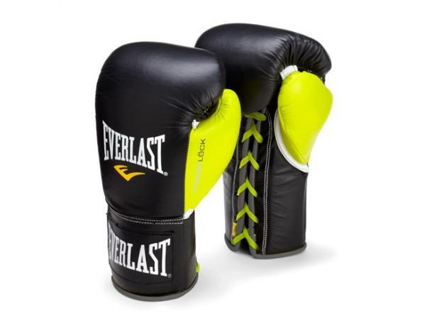 Everlast Powerlock Pro Fight Black Green Boxing Gloves