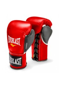 Everlast Powerlock Pro Fight Red Grey Boxing Gloves