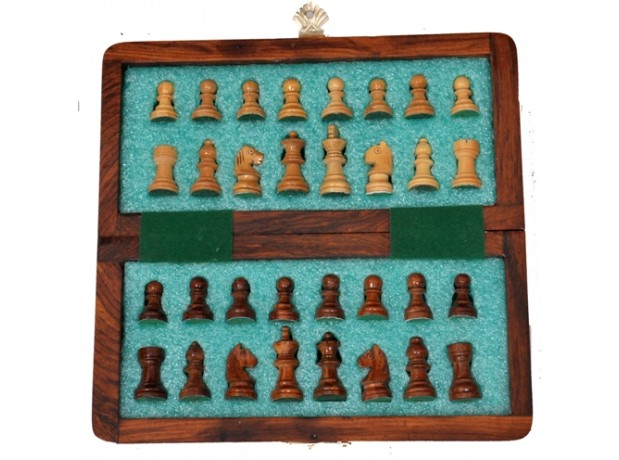 Handmade 7 Inch Wooden Chess Travel Magnetic Chess Set