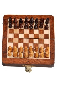 Handmade 5 Inch Wooden Chess Travel Magnetic Chess Set
