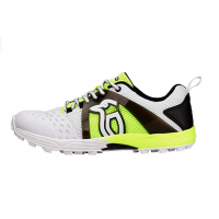 Kookaburra KCS 1500 Rubber Stud Cricket Shoes White Black and Lime
